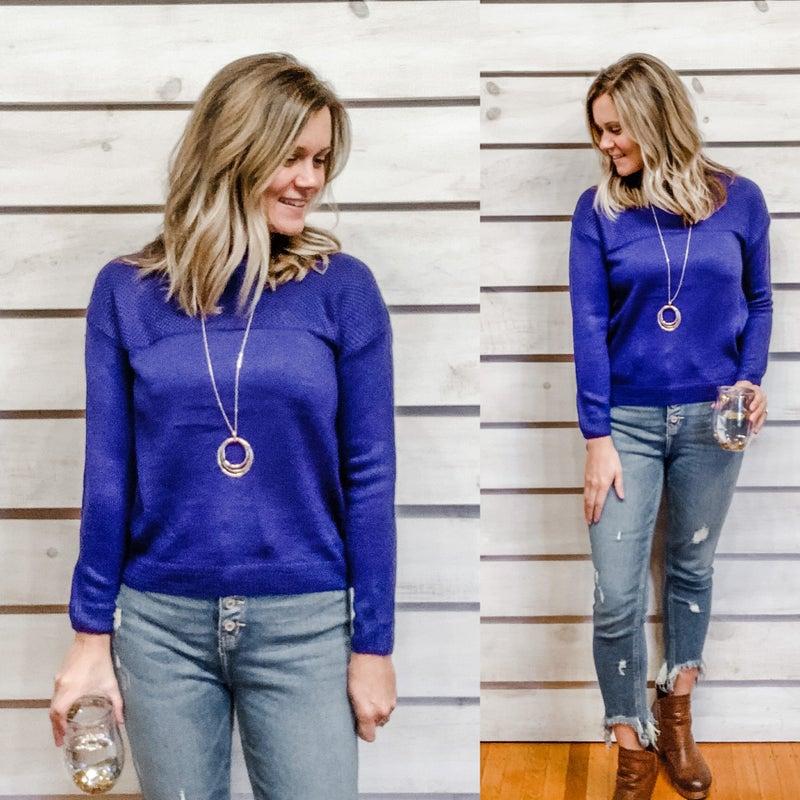 Cobalt Blue Contrasting Texture Sweater