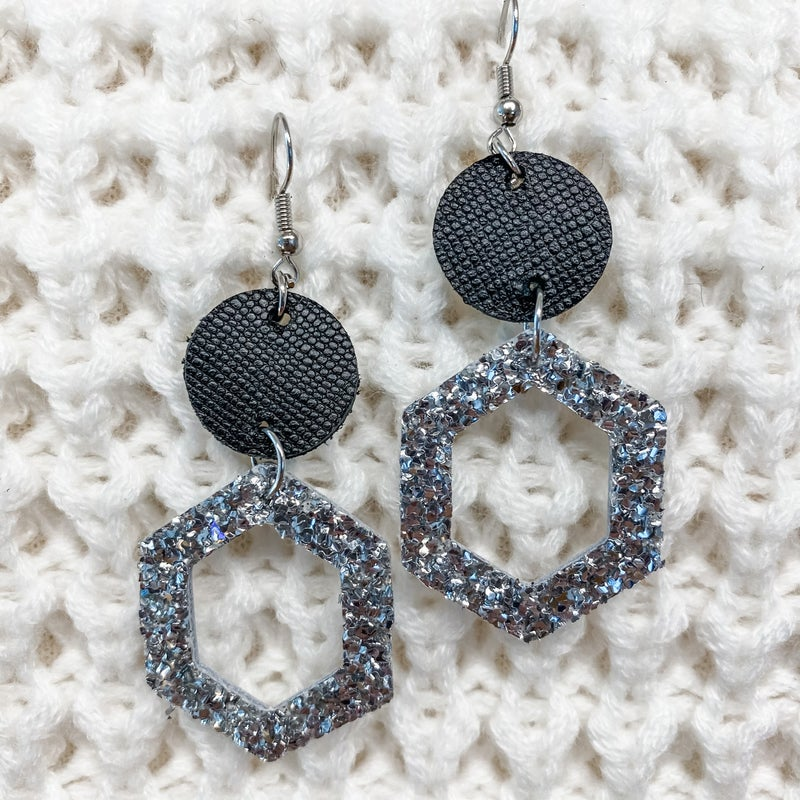 Sparkle and Shine Leather Earrings