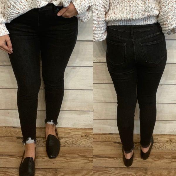 Black Skinny Jeans with Distressed Hem
