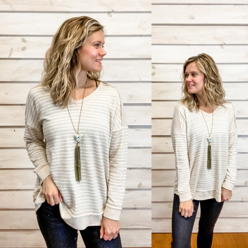Oatmeal Striped Top with Textured Detail