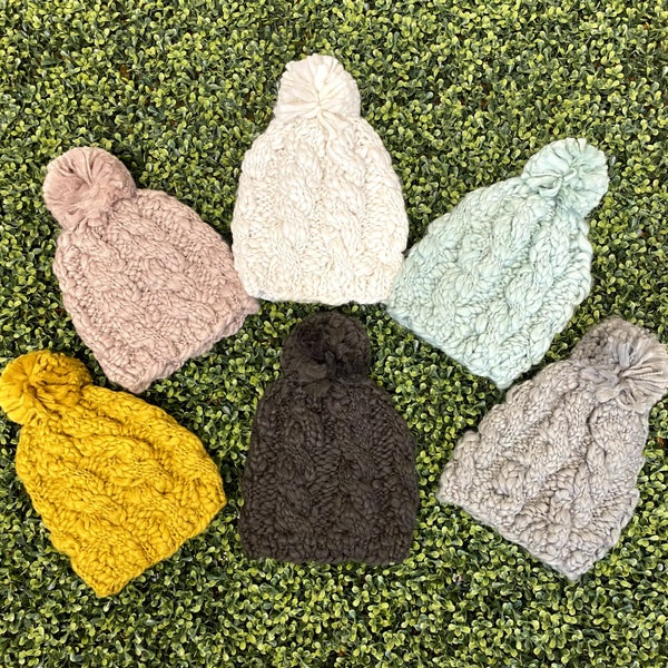 Super Cozy Cable Knit Pom Beanie *Final Sale*