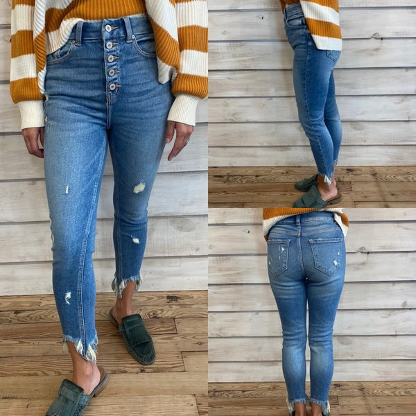 High Waisted Distressed Skinny Jeans with Button Fly