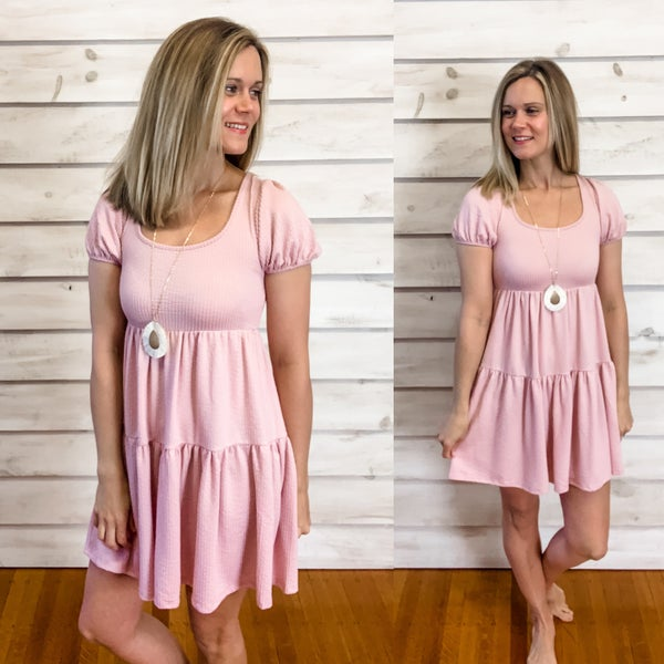 Mauve Textured Dress with Back Tie