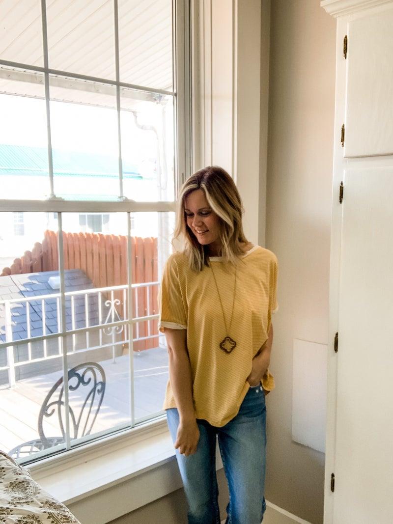 Mustard Pin Stripe Dolman Sleeve Top