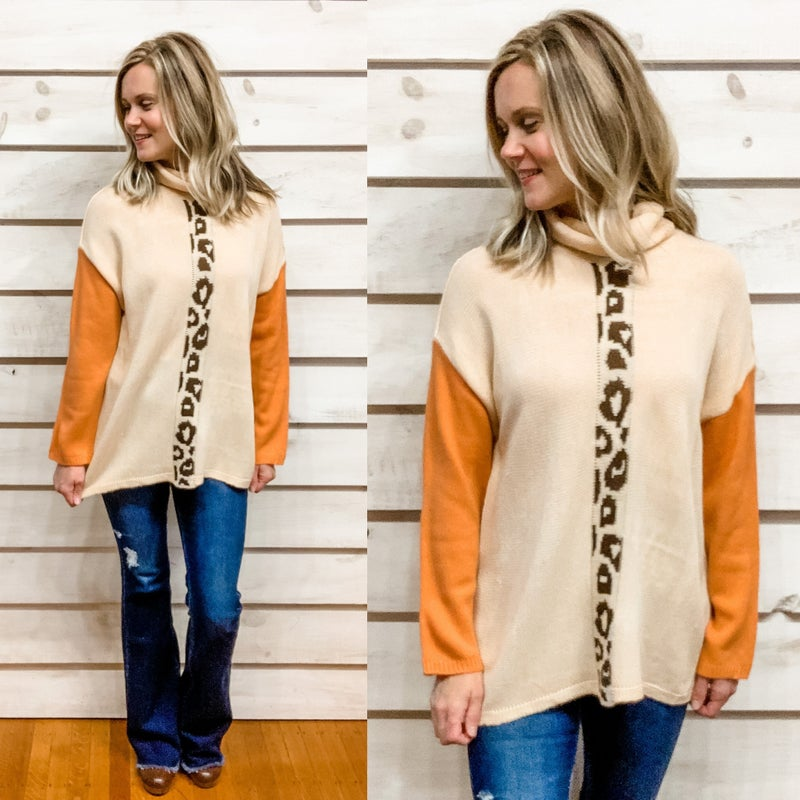 Beige Color Block Contrast Print Sweater