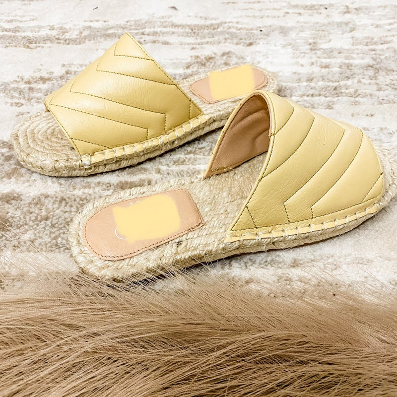 Sunshine Yellow Espadrille Slide On Sandals