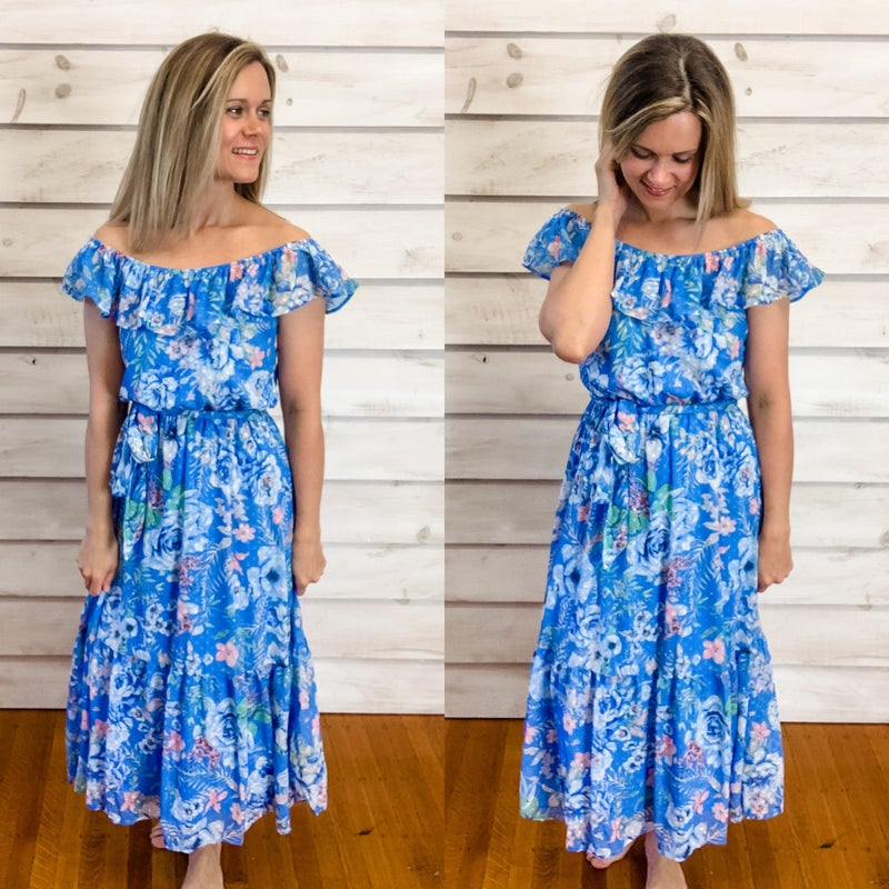 Blue Floral Ruffle Maxi with Tie