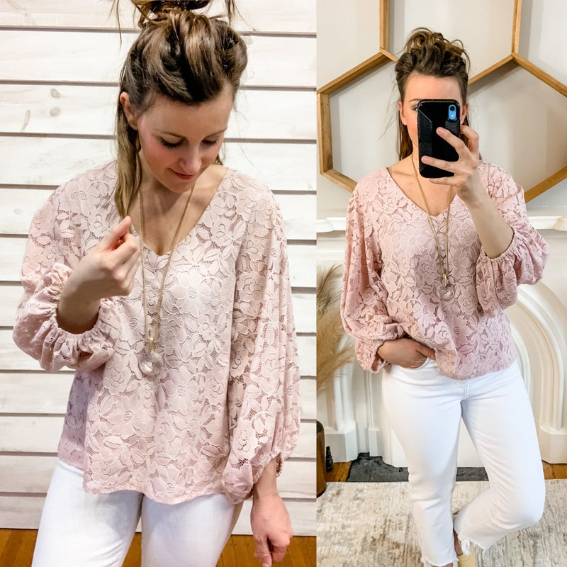 Blush Corded Lace Top