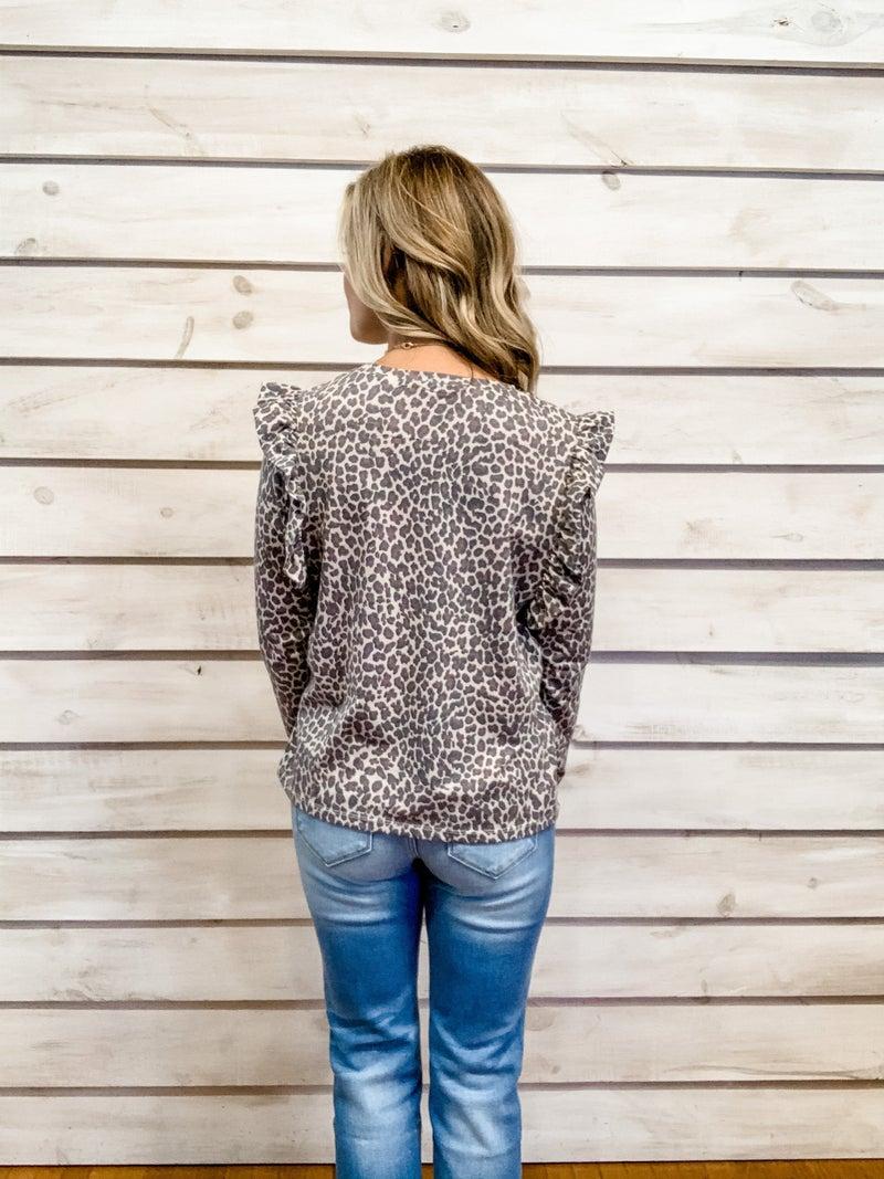 Animal Print Long Sleeve Top with Ruffle Details