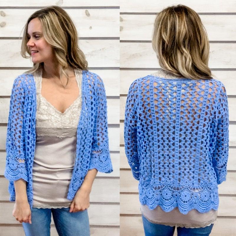 Sky Blue Crochet Kimono