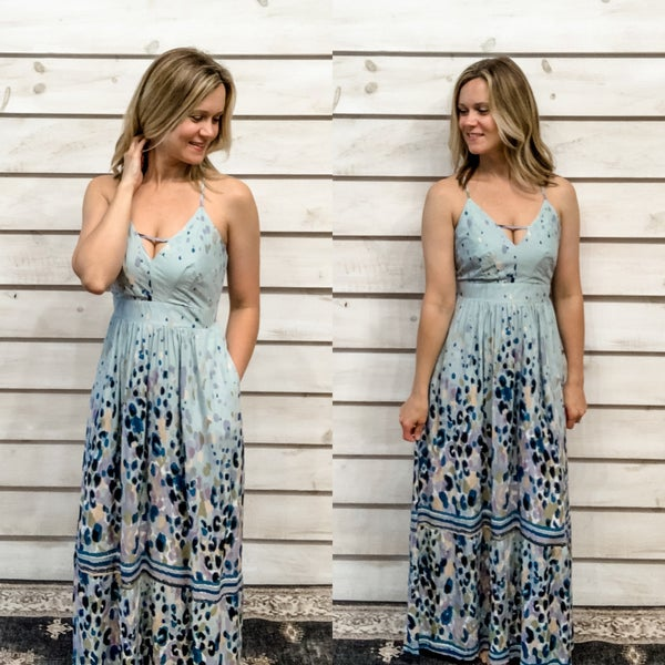 Blue Boho Print Maxi Dress