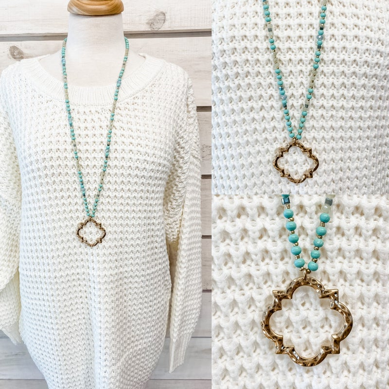 Aqua Beaded Necklace with Open Gold Charm