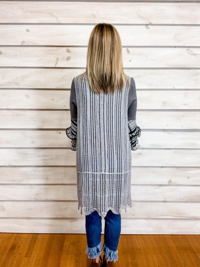 Grey Crochet Midi Vest