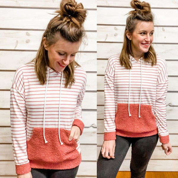 Mauve Striped Hoodie with Cozy Details