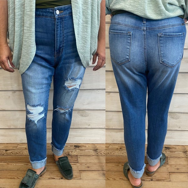 High Waisted Distressed Boyfriend Fit Jeans