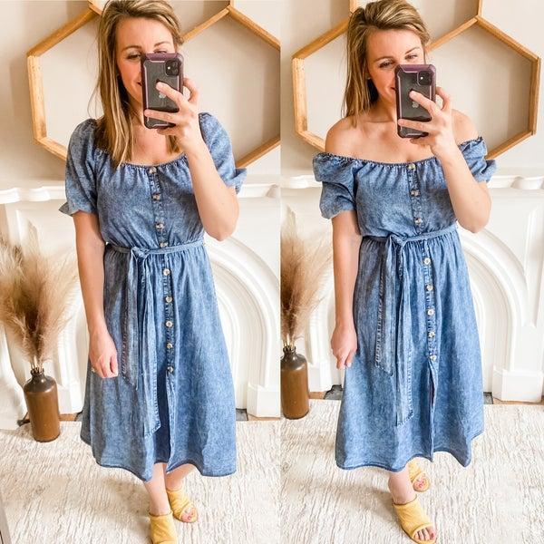 Denim Puff Sleeve Midi Dress