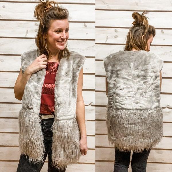 Grey Fur and Fringe Vest