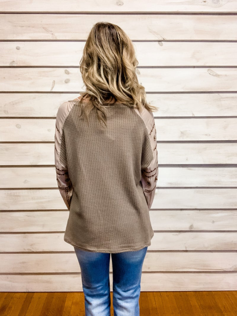 Mocha Waffle Knit Top with Embroidered Top