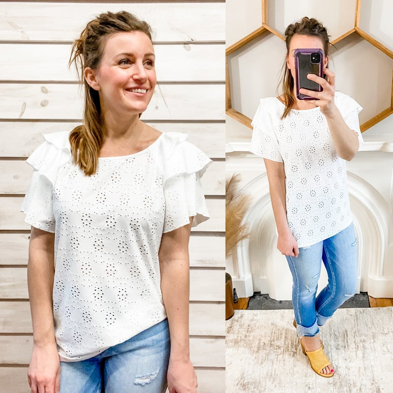 White Eyelet Ruffle Sleeve Top