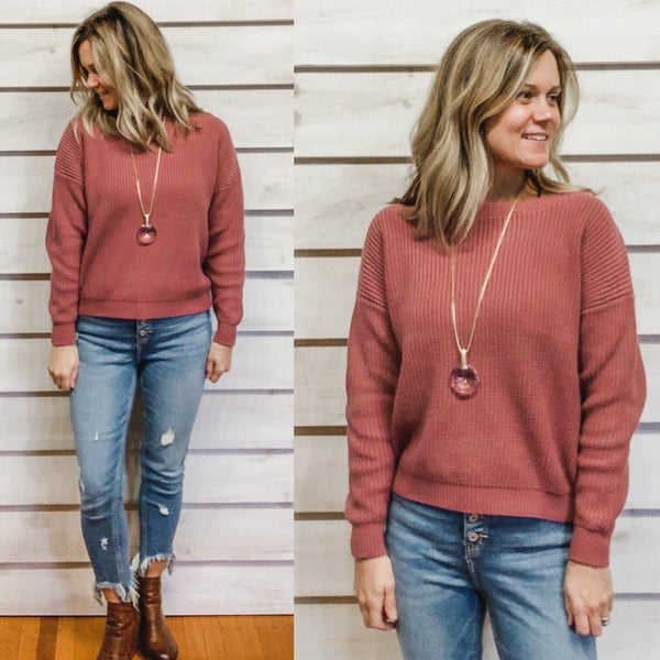 Berry Boat Neck Sweater