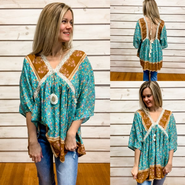 Teal Boho Floral Tunic Top