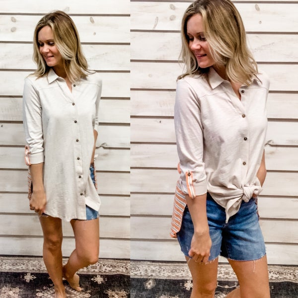 Oatmeal Button Front Colorblock Top