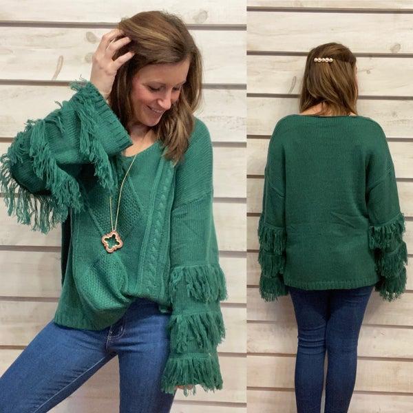 Green Fringe Sweater