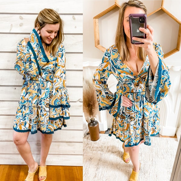 Retro Geo Print Dress with Bell Sleeves