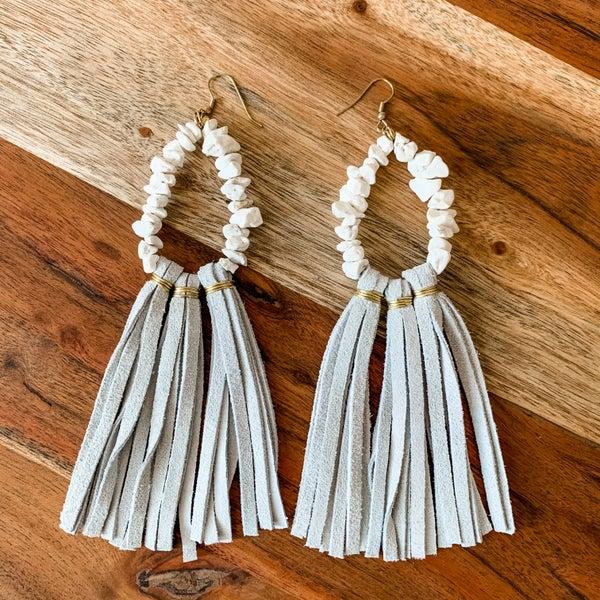 Grey Beaded Boho Tassel Earrings