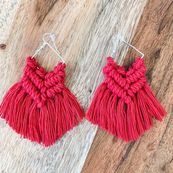 Red Boho Macrame Earrings