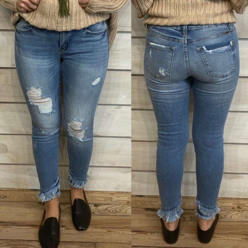 Mid Rise Distressed Skinny Jeans with Double Frayed Hem