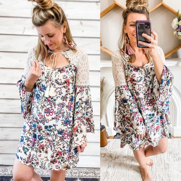 Cream Floral Dress with Bell Sleeves