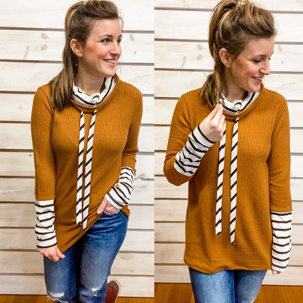 Camel Double Layer Striped Top