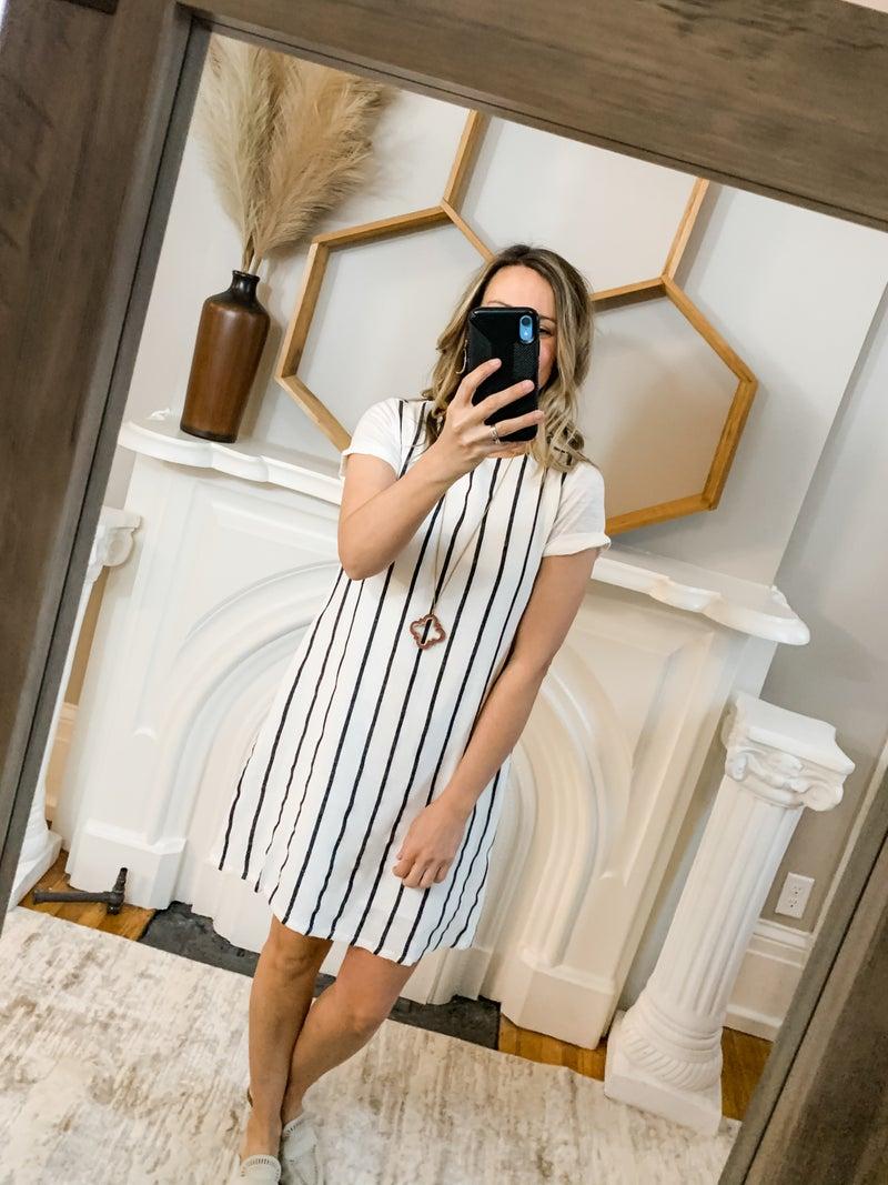 Off White Linen Striped Dress