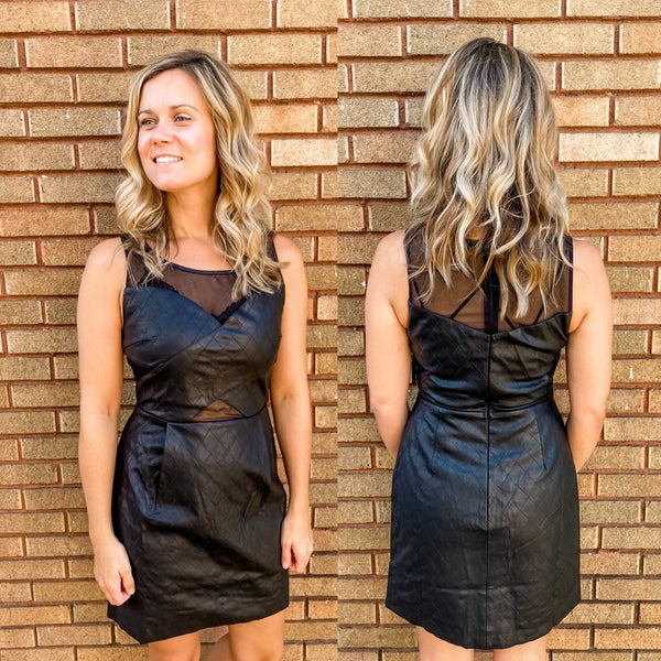 Black Faux Leather Stiched Dress with Mesh Detail *Final Sale*
