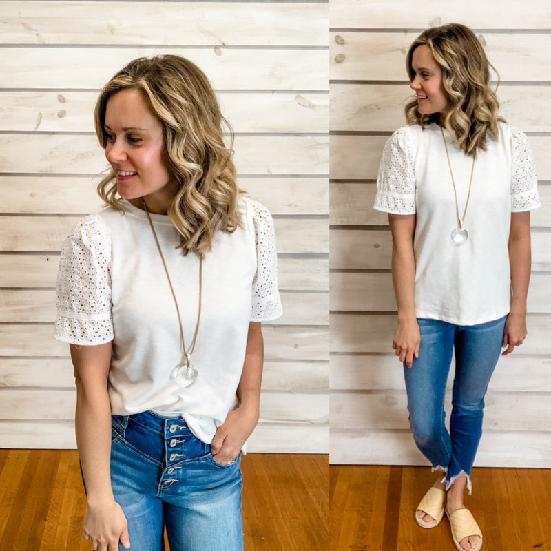 White Embroidered Ruffle Top