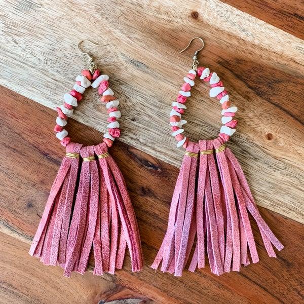 Terra Cota Beaded Tassel Boho Earrings