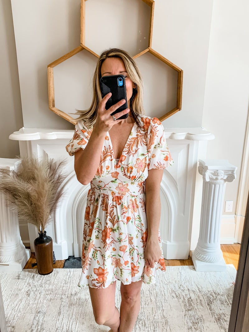 Ivory Floral Bubble Sleeve Dress