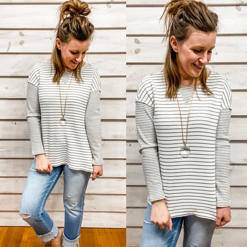 Black and White Contrasting Stripe Top