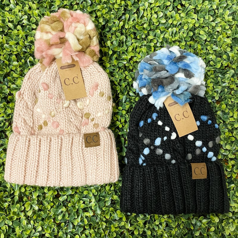Cozy Lined Pom Beanie with Fun Stitching *Final Sale*