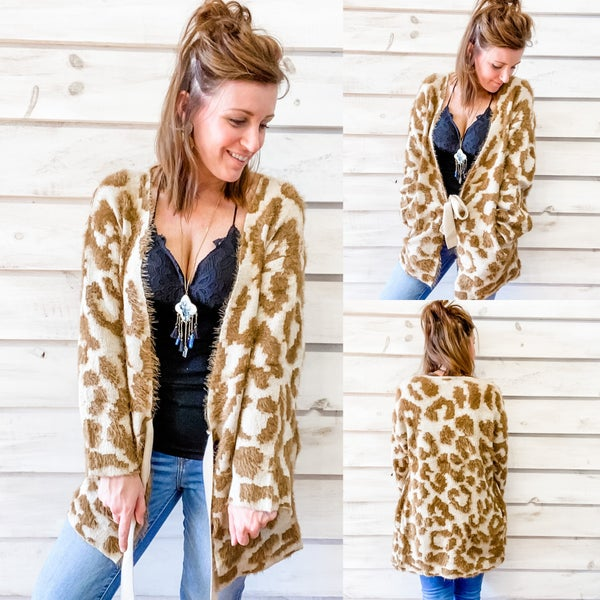 Animal Print Fuzzy Open Front Cardigan with Tie