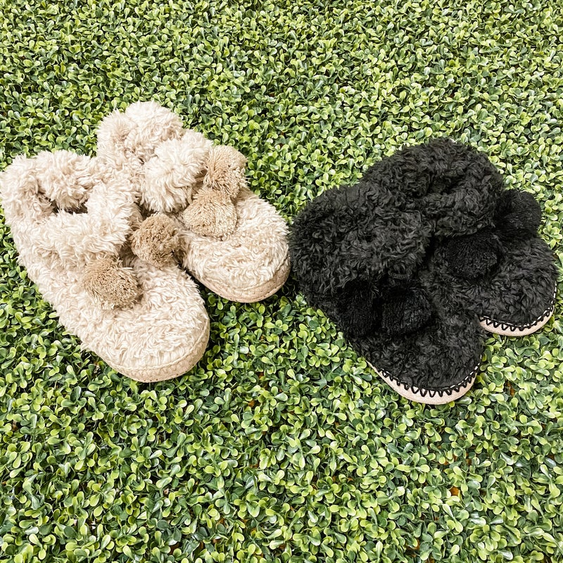 Cozy Bootie Slippers with Pom Detail *Final Sale*
