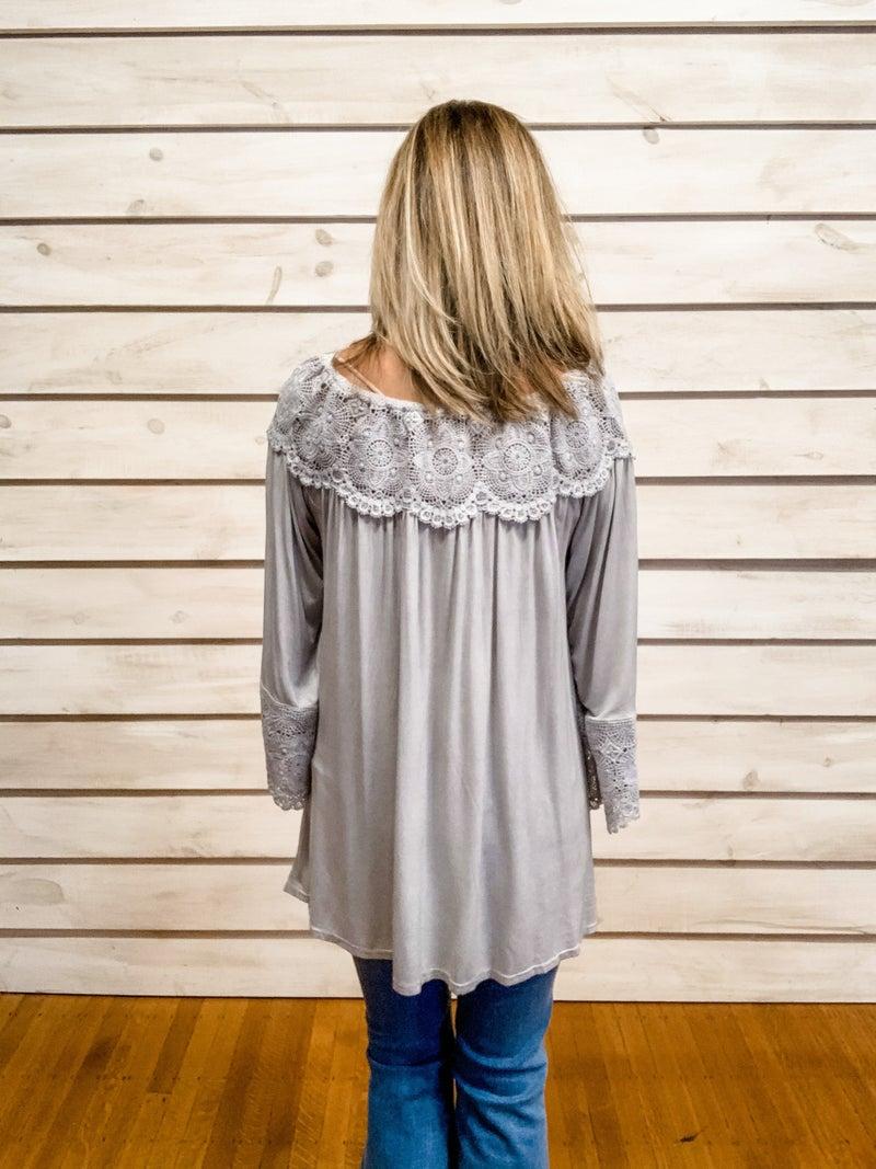 Grey Boho Crochet Detail Top