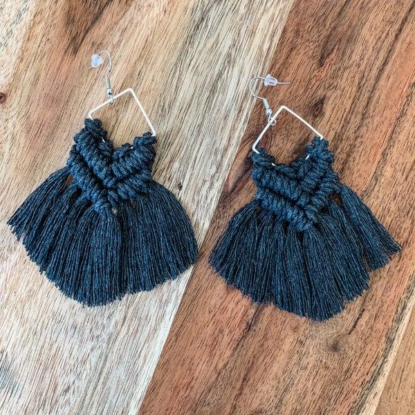 Dark Charcoal Macrame Boho Earrings