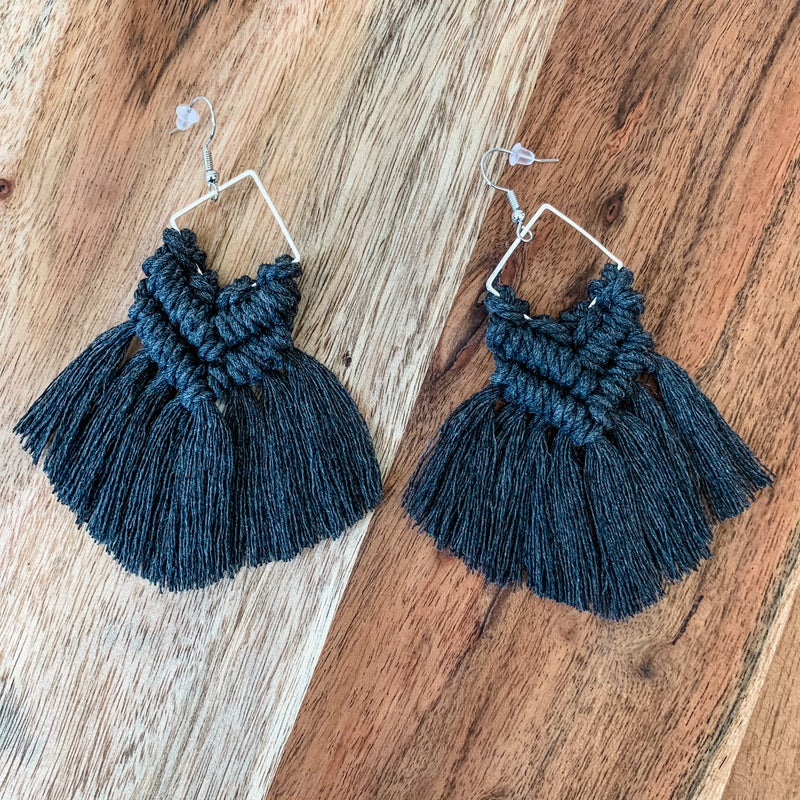 Dark Charcoal Macrame Boho Earrings