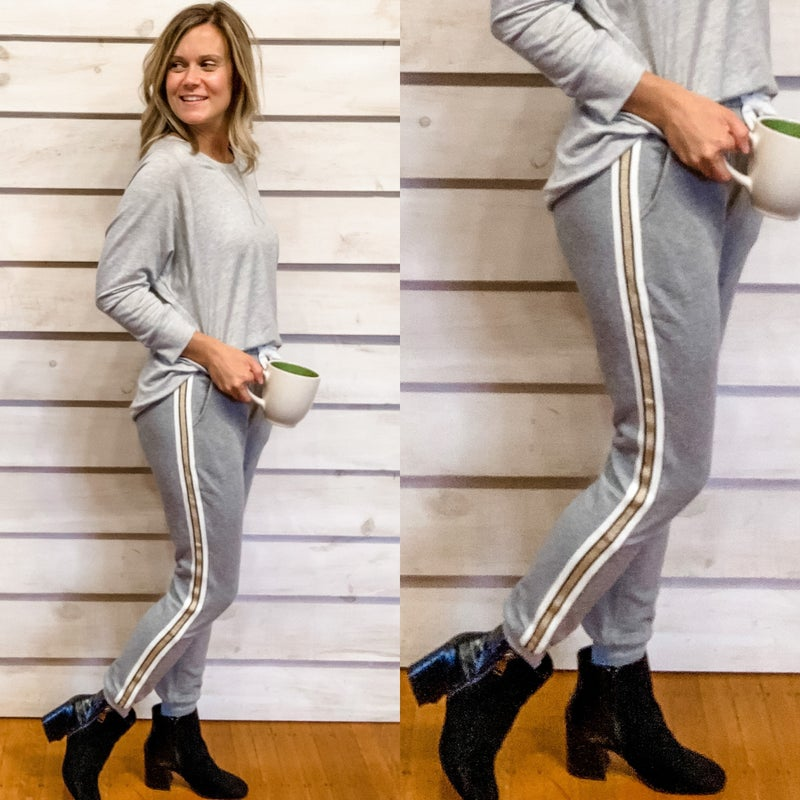 Grey Joggers with Side Stripes