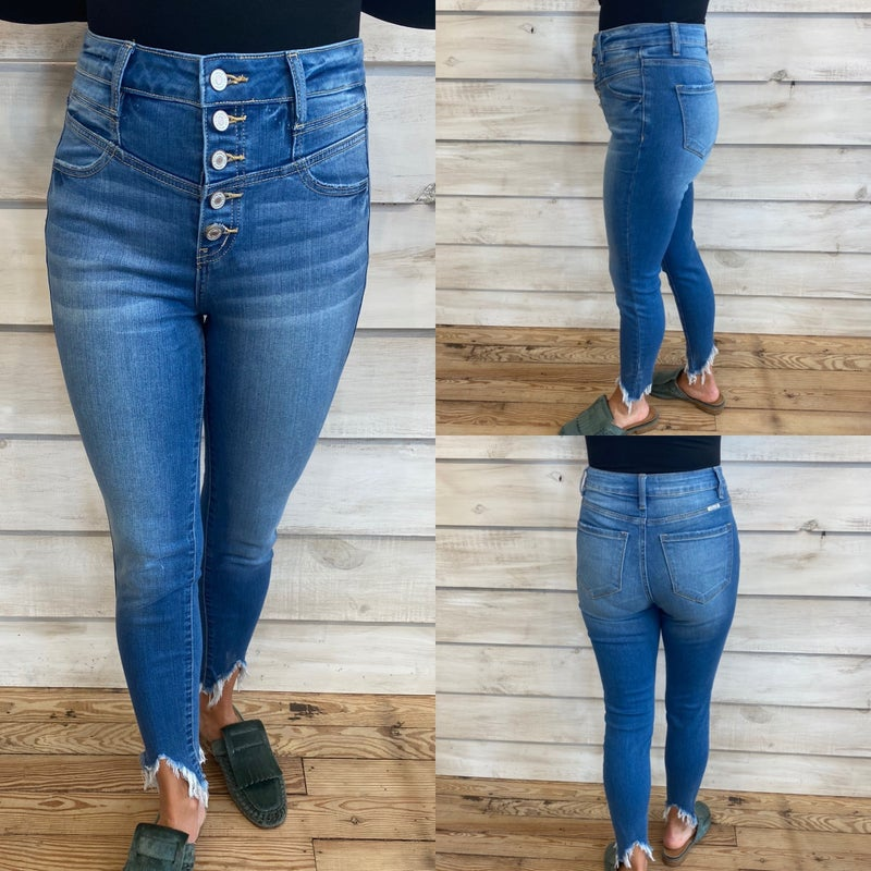High Waisted Button Fly Skinny Jeans with Raw Hem