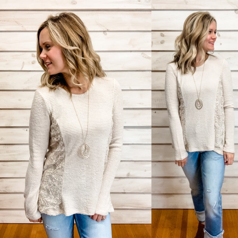 Beige Waffle Top with Side Lace Details