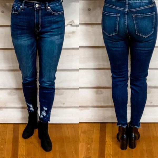 Dark Wash Distressed Bottom Jeans