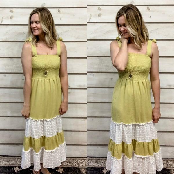 Lime Layered Ruffle Tie Dress
